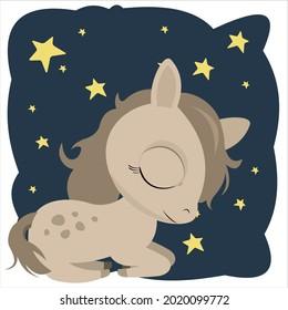 Little cub foal. Horse. Cheerful kind animal child. Cartoons flat style. Funny. Vector