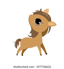Little cub foal. Horse. Isolated object on a white background. Cheerful kind animal child. Cartoons flat style. Funny. Vector