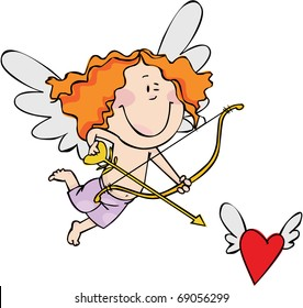 Little Cupid hunts for a heart with wings