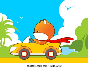 Little cute animal rides in a convertible on a background of tropical landscape