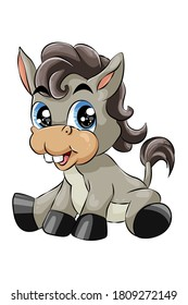 A little cute baby donkey laughing blue eyed, design animal cartoon vector illustration