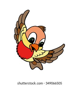 a little cute bird. bullfinch bird vector illustration.