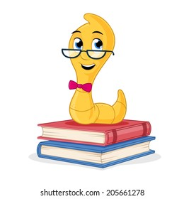 Little cute book worm standing on the books vector cartoon illustration