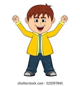 The little cute boy cartoon vector