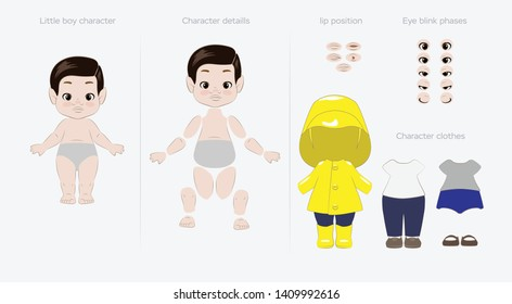 little cute boy, character for animation, blink phase, clothes set, mouth expressions