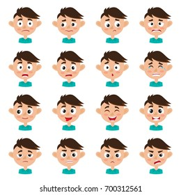 Little cute boy face expression, set of cartoon vector illustrations isolated on white background. Set of kid emotion face icons, facial expressions.