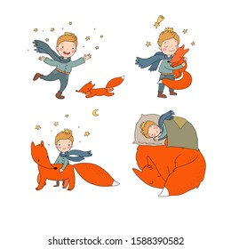 Little cute boy and foxes. fairy tale about the prince. kids design