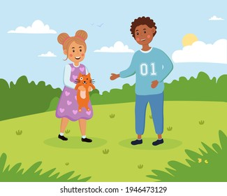 Little cute boy and girl are having fun outdoors with cat. Little children are playing with cat in a park on a hot summer day. Concept of outdoor activity. Flat cartoon vector illustration