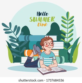 Little, cute boy reading a book in the garden. Nature landscape background. Summer holidays illustration. Vacation time