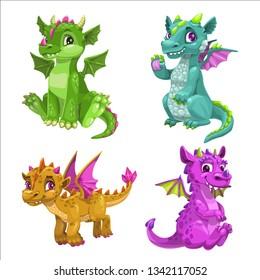 Little cute cartoon baby dragons set. Vector illustration.