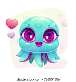 Little cute cartoon baby octopus. Vector illustration.