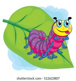 Little cute cartoon caterpillar on a leaf. Bright vector illustration for children
