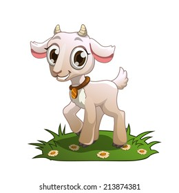 Little cute cartoon goat on the grass, isolated illustration on the white background