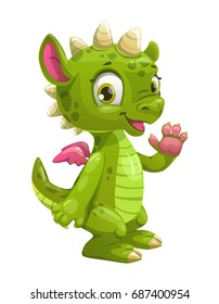 Little cute cartoon green dragon. Vector icon, isolated on white background.
