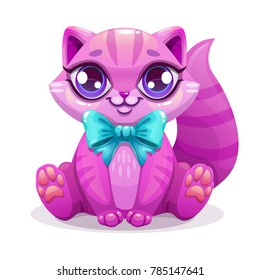 Little cute cartoon kitten icon. Pink striped sitting cat with blue bow. Isolated kitty pet illustration.