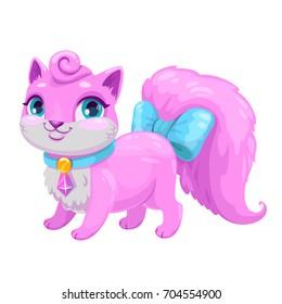Little cute cartoon kitty princess. Vector adorable kitten icon. Fancy pink cat illustration.