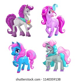 Little cute cartoon pony princess set. Vector beautiful horses icons. Isolated on white background.