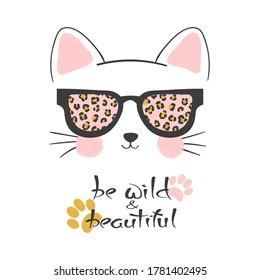 Little cute cat in sunglasses vector illustration. T-shirt print for kids