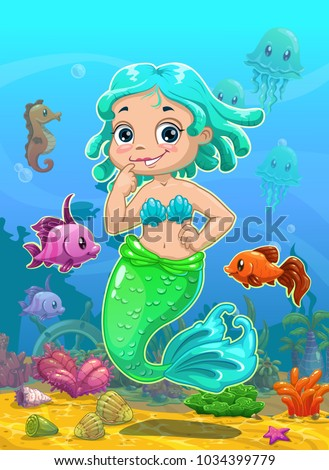Little Cute Catoon Mermaid With Ocean Animals On The Underwater Background Vector Illustration