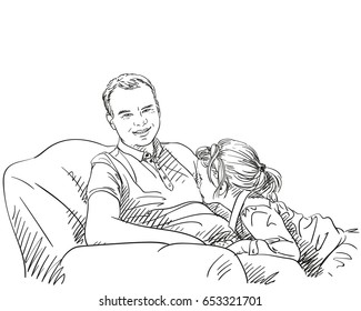 Little cute daughter climbing up on her father while he sitting in sofa, Vector sketch isolated on white, Hand drawn hatching illustration