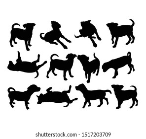 Little and Cute Dog Silhouettes, art vector design