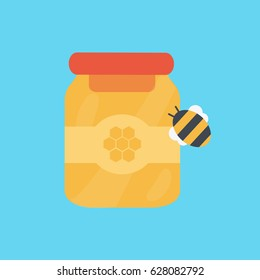 a little cute drawing & sweet bee icon vector with a transparent closed jar isolated of organic honey simple flat design style illustration  & animal with label symbol or sign. sweet food for New Year