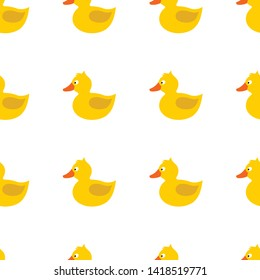 Little cute duck.  Yellow duck with white eye, orange beak, brown wing, tale, topknot, crest, without paws. Vector seamless pattern. Customized background.