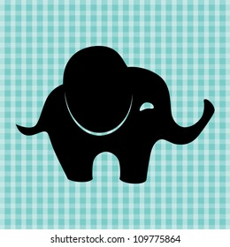 Little cute elephant silhouette, vector illustration
