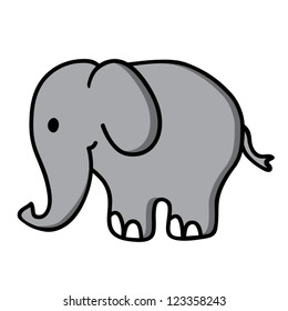 Little cute elephant, vector illustration