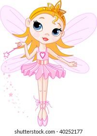 Little Cute fairy ballerina with magic wand