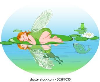 Little cute fairy elf sleeping on Water lily leaf.