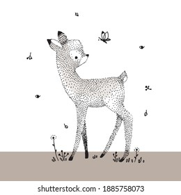 Little cute fawn, linear graphic vector illustration.