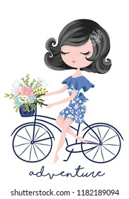 Little cute girl with bicycle illustration for fashion artworks, children books, t shirt prints, greeting cards.