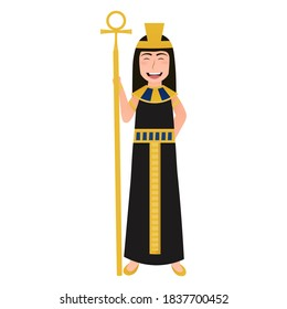 Little cute girl in cleopatra costume, ancient egyptian queen character in cartoon style on white background, gold necklace and headdress, historical leader