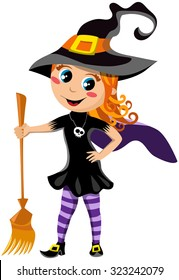 Little Cute Girl with Halloween Witch Costume isolated