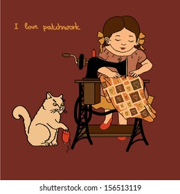 Little cute girl is sewing on the sewing machine, and the cat is playing with the threads. Retro background, card for your design