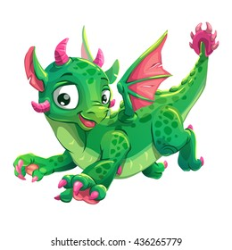 Little cute green flying young dragon, childish vector illustration, isolated on white background