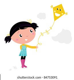 Little cute kid flying kite isolated on white Autumn girl flying kite in the air. Vector cartoon Illustration.