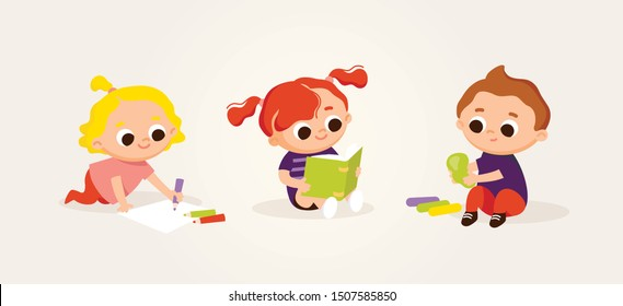 Little cute kids drawing and reading. Art class lessons. Children's activities. Set of kids in various poses.Kids at the art classes.