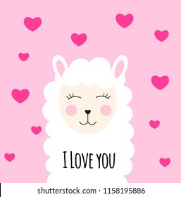 Little cute llama with heart for card and shirt design. I Love you concept. Vector Illustration EPS10