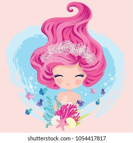 Little cute mermaid with fishes and seashells. Book illustration, t shirt graphics.