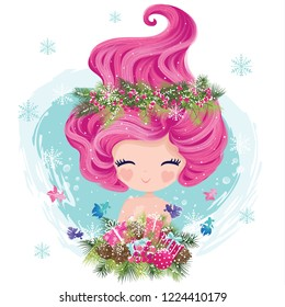 Little cute mermaid with fishes and seashells in christmas theme. Book illustration, t shirt graphics.