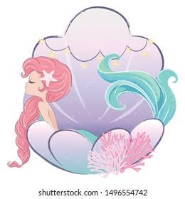 Little cute mermaid in seashell vector illustration