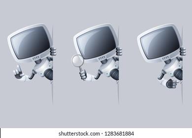 Little cute monitor head robot look out corner help technology science fiction future sale design 3d vector illustration