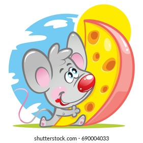 A little cute little mouse with a red nose looks at a huge piece of cheese and wants to eat it. A cartoon vector character. Funny Isolated illustration of animal on a white background.