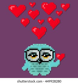 Little cute owl fall in love. Vector illustration in the style of old-school pixel art.