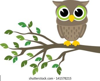little cute owl sitting on a branch isolated on white background, vector format very easy to edit, individual objects