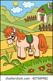 Little cute pony stands on the field and eats grass.