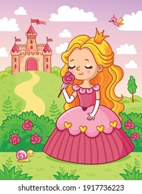 Little cute princess in a beautiful dress sniffs a red flower on the background of a castle in a green meadow. Vector illustration with a girl in a cartoon style.