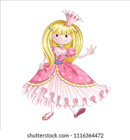 A little cute princess in a pink dress shows on her fingers that she is three years old. Vector cartoon baby character for birthday greetings.